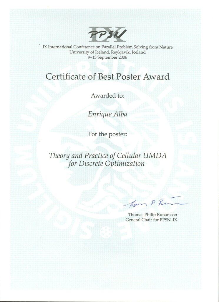 Best Poster Award en PPSN IX
